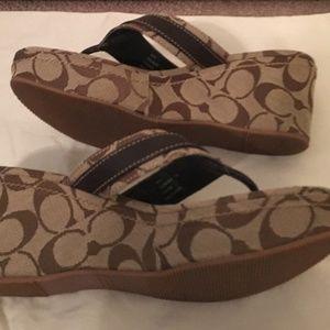 Size 7.5 Coach T-strap wedge platform sandals
